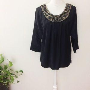St. John Black Silk Embellished Blouse Small